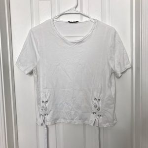 Zara Trafuluc White Lace Up Sides Crop Top Shirt